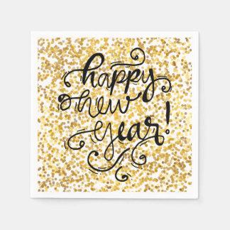 Happy New Year Gold Confetti Holiday Napkin Paper Napkin