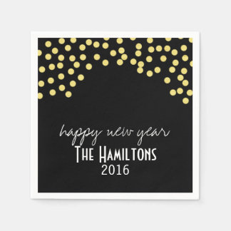Happy New Year Gold Glitter Cocktail Party Napkin Paper Napkin