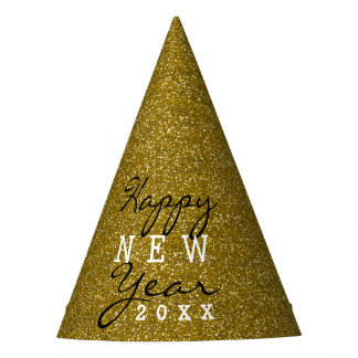 Happy New Year Gold Glitter Party Hat