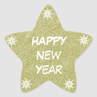 Happy New Year Gold Glitter Star Sticker Stars