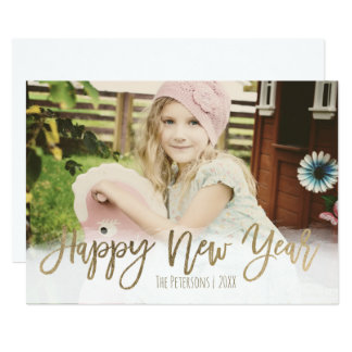 Happy New Year gold modern typography photo Card