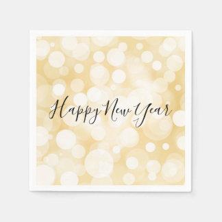 Happy New Year Gold Polka Dot Holiday Napkin Disposable Serviettes