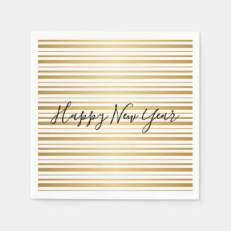 Happy New Year Gold Striped Pattern Holiday Napkin Disposable Serviette