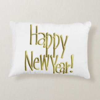 Happy New Year - Gold Text (Add Background Colour) Decorative Cushion