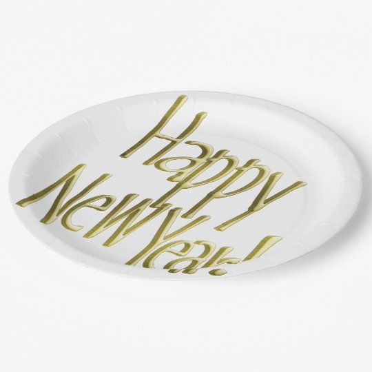 Happy New Year - Gold Text (Add Background Colour) Paper Plate