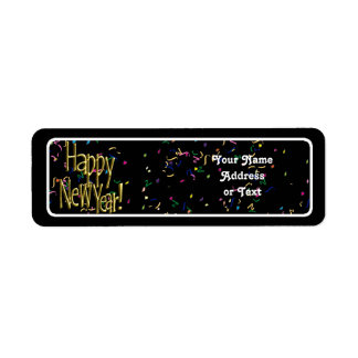 Happy New Year - Gold Text on Black Confetti