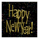 Happy New Year - Gold Text on Black Confetti Poster