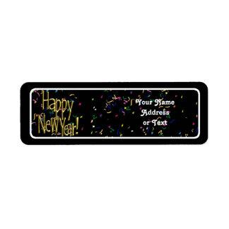 Happy New Year - Gold Text on Black Confetti Return Address Label