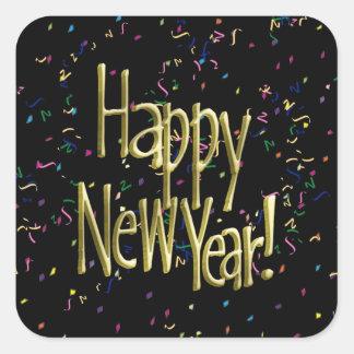 Happy New Year - Gold Text on Black Confetti Square Sticker