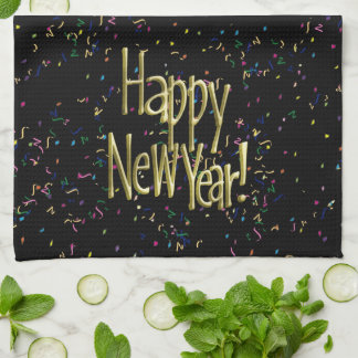 Happy New Year - Gold Text on Black Confetti Tea Towel