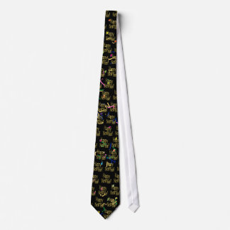 Happy New Year - Gold Text on Black Confetti Tie