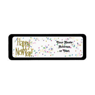 Happy New Year - Gold Text on White Confetti