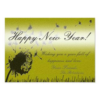 Happy New Year - Gold Wish Card 13 Cm X 18 Cm Invitation Card