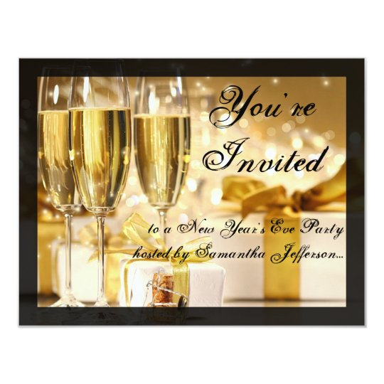 Happy New Year Golden Champagne Glasses Card