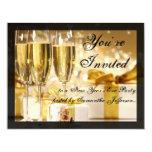Happy New Year Golden Champagne Glasses Custom Invite