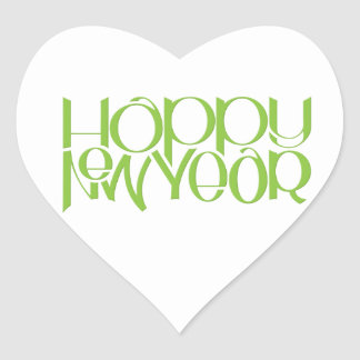 Happy New Year green Heart Sticker