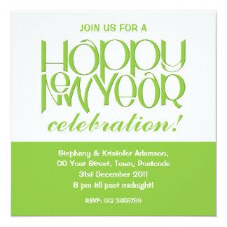 Happy New Year green Invitation