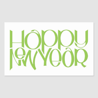 Happy New Year green Rectangle Sticker