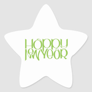 Happy New Year green Star Sticker