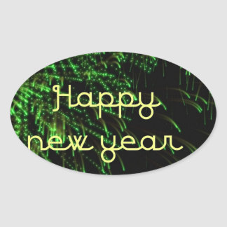 happy new year green oval stickers