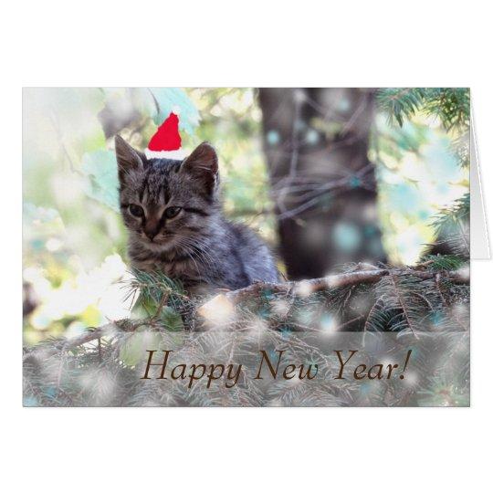Happy New Year Greeting Card, Standard Kitten Card