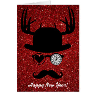 Happy New Year Greetings Mustache London Card