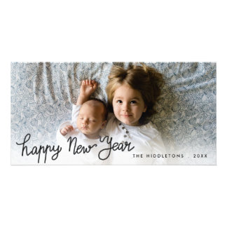 Happy New Year Handwritten Holiday Photo Custom Photo Card