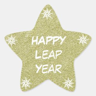 Happy New Year, Happy Leap Year Gold Glitter Star Star Sticker