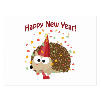 Happy New Year! Hedgehog Postcard