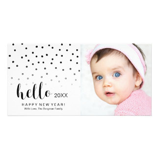 Happy New Year Holiday Photo Modern Dots Hello Card