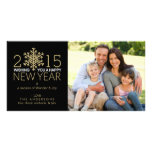 Happy New Year Holiday Snowflake Family Photo Photo Greeting Card