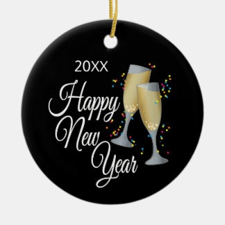 Happy New Year I Champagne Glasses and Confetti Christmas Ornament
