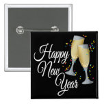 Happy New Year I Champagne Glasses 15 Cm Square Badge