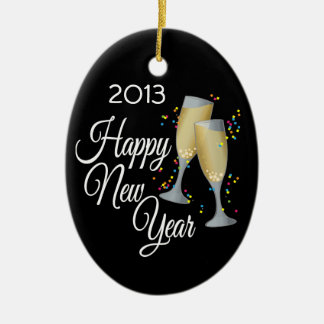 Happy New Year I Champagne Glasses Christmas Ornament