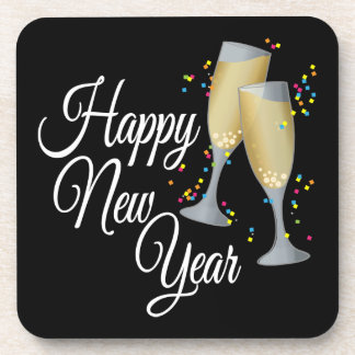 Happy New Year I Champagne Glasses Coasters