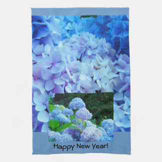 Happy New Year Kitchen Hand Towels Blue Floral