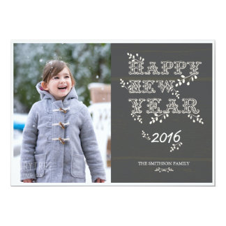 happy new year & leaves new year card 13 cm x 18 cm invitation card