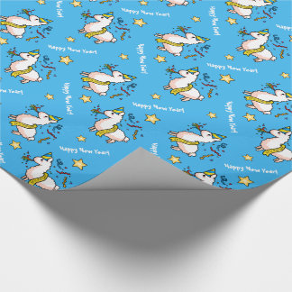 Happy New Year Llama Wrapping Paper