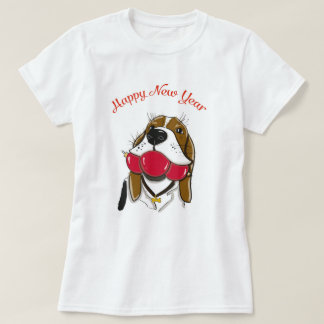 Happy New Year look. T-shirt with cute dog