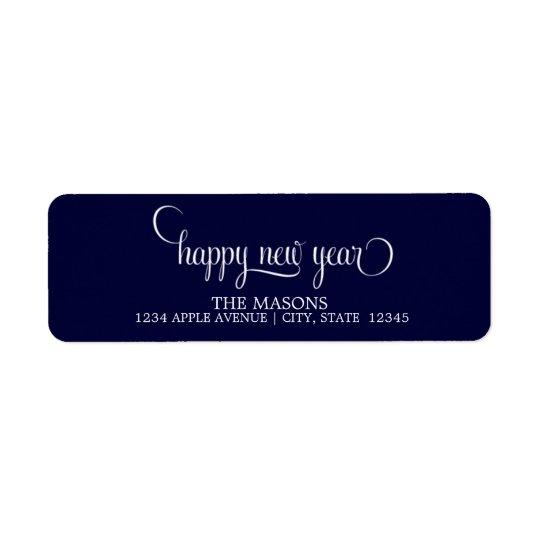Happy New Year Lowercase Script | Dark Blue