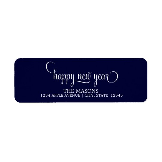 Happy New Year Lowercase Script | Dark Blue Return Address Label