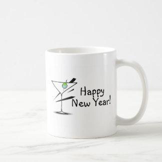 Happy New Year Martini Basic White Mug