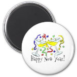 Happy New Year Martini Glasses 6 Cm Round Magnet