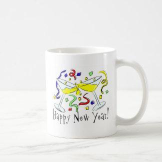 Happy New Year Martini Glasses Basic White Mug