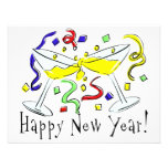Happy New Year Martini Glasses Personalized Announcement