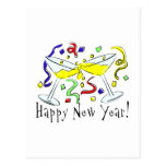 Happy New Year Martini Glasses Post Cards