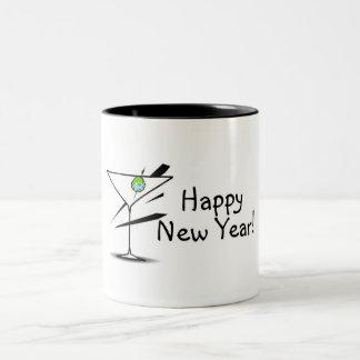 Happy New Year Martini Two-Tone Mug