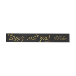 Happy New Year Modern Calligraphy Return Address Wrap Around Label