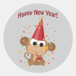 Happy New Year Monkey Classic Round Sticker