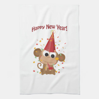 Happy New Year Monkey Kitchen Towels